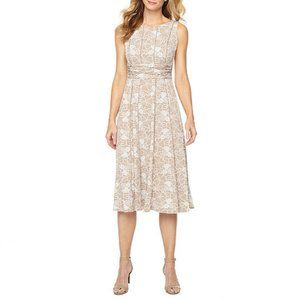NWT Perceptions Taupe Floral Print Fit&Flare Dress